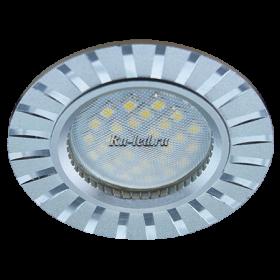точечные светильники для потолков Ecola MR16 DL3183 GU5.3 Светильник встр. литой (скрытый крепеж лампы) матовый Хром/Алюм Полоски по кругу 23x78 (кd74)