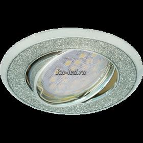потолочные светильники купить цена Ecola MR16 DL39 GU5.3 Светильник встр. литой поворотный Круг под стеклом Серебряный блеск/Хром 23x88