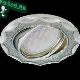 Ecola MR16 DL36S GU5.3 Светильник встр. поворотный Звезда под стеклом Серебряный блеск/Хром 26x84