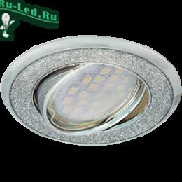 Ecola MR16 DL39S GU5.3 Светильник встр. поворотный Круг под стеклом Серебряный блеск/Хром 26x94