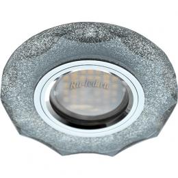 круглые встраиваемые led светильники Ecola MR16 DL1653 GU5.3 Glass Стекло Круг с вогнутыми гранями Серебряный блеск / Хром 25x90 (кd74)