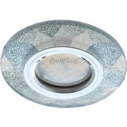 Встраиваемые светильники для натяжных потолков Ecola MR16 DL1654 GU5.3 Glass Стекло Круг граненый Серебряный блеск / Хром 25x90 (кd74)