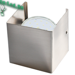 gx53 светильник размеры компактны и отличаются изысканным и утонченным внешним видом Ecola GX53-N51 светильник настенный бра прямоугольный сатин-хром 1* GX53 100х100х90 (1 из цв. уп. по 2)