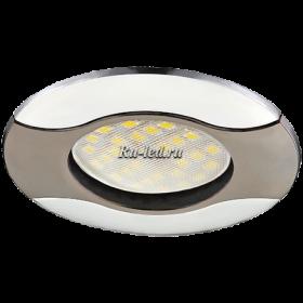 точечный светильник mr16 Ecola MR16 HL029 GU5.3 Светильник встр. литой Волна (скрытый крепеж лампы) Черный Хром/Хром 22x82 (кd74)