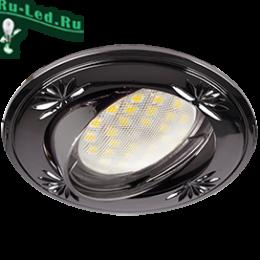 встроенные светильники в потолок светодиодные купить которые способны осветить большие помещения Ecola MR16 DL21 GU5.3 Светильник встр. литой поворотный искр.гравир. Четыре цветка Черный Хром 23x84