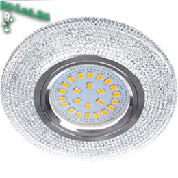 """Отличный выбор для квартир с невысокими потолками - это купить точечные светильники потолочные Ecola MR16 LD7069 GU5.3 Светильник встр. искристый с подсветкой """"Модерн"""" Прозрачный / Хром 25x95"""