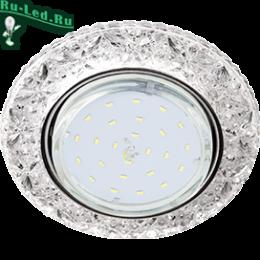 """точечный свет помогает визуально расширить пространство и сделать интерьер более интересным Ecola GX53 H4 LD7040 Светильник встр. искристый с подсветкой """"Бабочки"""" Прозрачный / Хром 35x125 (к+)"""