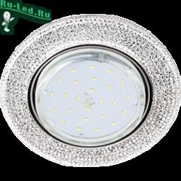 """магазин встроенных светильников, где множество моделей самых разных стилей и цветов Ecola GX53 H4 LD7069 Светильник встр. искристый с подсветкой """"Модерн"""" Прозрачный / Хром 35x125 (к+)"""