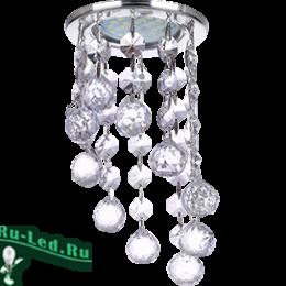 """Натяжные потолки со светильниками купите и вы получите эффектный осветительный прибор Ecola MR16 CR1007 GU5.3 Glass Стекло Круг с большими хруст. на подвесе """"под скос"""" Прозрачный / Хром 84x170"""