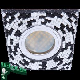Светодиодные светильники для натяжных потолков для тех, кто хочет создать в доме уют и комфорт Ecola MR16 DL1658 GU5.3 Glass Стекло Квадрат с прозр.-черной мозаикой/фон зерк../центр.часть хром 28x95x95