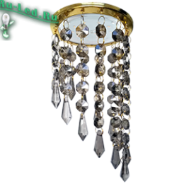 """светильник gx53 h4 золото купить по приемлемой цене через интернет портал в москве Ecola GX53 H4 5343 Glass Круг с продолговатыми хруст. на подвесе """"под скос"""" Тонированный / Золото 350x110"""