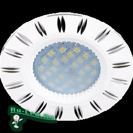 светильник ecola mr16 для организации точечной подсветки в натяжном или подвесном потолке Ecola MR16 DL3184 GU5.3 Светильник встр. литой (скрытый крепеж лампы) Белый/Алюм Двойные Реснички по кругу 23x78 (кd74)