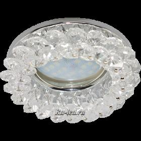 светильник белый свет Ecola Light MR16 CD4141 GU5.3 Светильник встр. круглый с хрусталиками Прозрачный/Хром 50x90 (кd74)