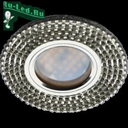 Круглые потолочные встраиваемые светильники верх креатива и совершенства Ecola MR16 DL1662 GU5.3 Glass Стекло Круг с прозр.стразами (оправа хром)/фон зерк./центр.часть хром 25x93