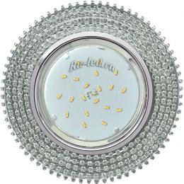 встроенные светильники ванны Ecola GX53 H4 Glass Круг с прозр.стразами (оправа хром)/фон зерк./центр.часть хром 40x120 (к+)
