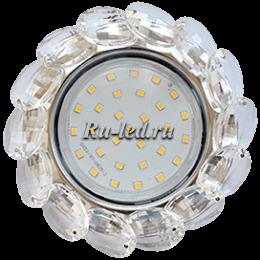 Купить светодиодный светильник потолочный 220 в Ecola GX53 H4 Glass Круглый с большими хрусталиками Прозр. /Хром 56x125 (к+)