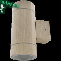 Ecola GX53 LED 8013A светильник накладной IP65 прозрачный Цилиндр металл. 2*GX53 Светлое дерево 205x140x90