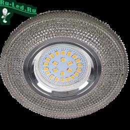 """купить светильники потолочные недорого могут с успехом монтироваться на подвесные и натяжные потолки Ecola MR16 LD7069 GU5.3 Светильник встр. искристый с подсветкой """"Модерн"""" Тонированный / Хром 25x95"""