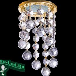 """купить светильники на потолок, чтобы создать атмосферу роскоши и благополучия Ecola MR16 CR1007 GU5.3 Glass Стекло Круг с большими хруст. на подвесе """"под скос"""" Тонированный / Золото 84x170"""