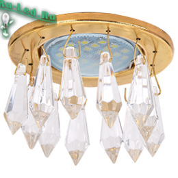 светильники mr16 купить для выполнения двух функций — эстетической и практической Ecola MR16 CR1003 GU5.3 Glass Стекло Круг с продолговатыми хруст. на коротком подвесе Прозрачный / Золото 84x76