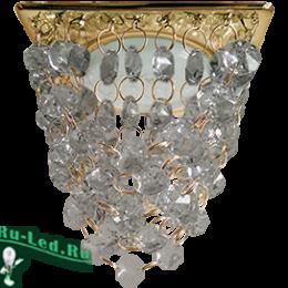 """ecola gx53 h4 glass квадрат светильник купить онлайн по интернету в москве Ecola GX53 H4 5358 Glass Квадрат """"Хрустальная гроздь"""" Тонированный / Золото 150x110x110"""