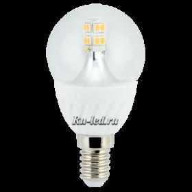 купить хорошие светодиодные лампы от Экола для стандартных и уменьшенных цоколей Ecola globe LED Premium 4,0W G45 220V E14 2700K 320° прозрачный шар искристая точка (керамика) 86х45