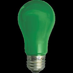 Купить лампу зеленого цвета для декоративного освещения помещений Ecola classic LED color 8,0W A55 220V E27 Green Зеленая 360° (композит) 108x55