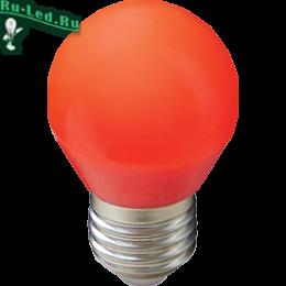Светодиодная лампа красного цвета подходит для декоративного освещения Ecola globe LED color 5,0W G45 220V E27 Red шар Красный матовая колба 77x45