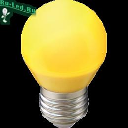 Светодиодные лампы желтый свет для установки в помещениях различного назначения Ecola globe LED color 5,0W G45 220V E27 Yellow шар Желтый матовая колба 77x45