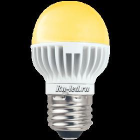 светодиодный шар g45 позволит сэкономить ваши расходы на оплату коммунальных услуг Ecola globe LED 5,4W G45 220V E27 золотистый шар (ребристый алюм. радиатор) 82х45