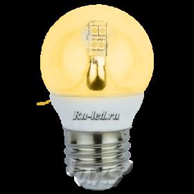 led светодиодные лампы цоколь e27 расходуют в 5 раз меньше энергии Ecola globe LED Premium 4,0W G45 220V E27 золотистый 320° прозрачный шар искристая точка (керамика) 76х45