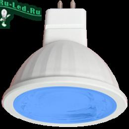 лампа колор Ecola MR16 GU5.3 синего света купить недорого по ценам интернета Ecola MR16 LED color 9,0W 220V GU5.3 Blue Синий (насыщенный цвет) прозрачное стекло (композит) 47х50