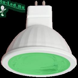 лампы зеленого свечения GU5.3 купить недорого через интернет портал в москве Ecola MR16 LED color 9,0W 220V GU5.3 Green Зеленый (насыщенный цвет) прозрачное стекло (композит) 47х50