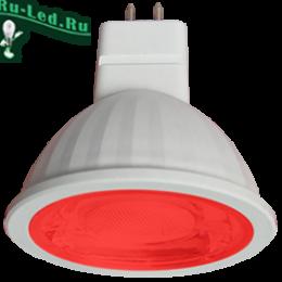 светодиодные лампы красного свечения  MR16 GU5.3 купить по цене интернета в москве Ecola MR16 LED color 9,0W 220V GU5.3 Red Красный (насыщенный цвет) прозрачное стекло (композит) 47x50