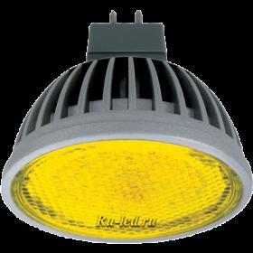 M2CY42ELC лампы - gu5.3 ecola mr16   led  color  4,2w 220v gu5.3 yellow желтый прозрачное стекло (ребристый алюм. радиатор) 47х50