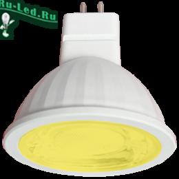 светодиодные лампы желтого свечения MR16 GU5.3 купить по цене интернет магазина Ecola MR16 LED color 9,0W 220V GU5.3 Yellow Желтый (насыщенный цвет) прозрачное стекло (композит) 47х50
