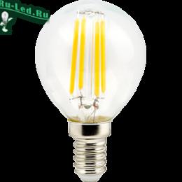 filament e14 прекрасно сочетается с большинством современных люстр и светильников Ecola globe LED Premium 6,0W G45 220V E14 2700K 360° filament прозр. нитевидный шар (Ra 80, 100 Lm/W, КП=0) 78х45