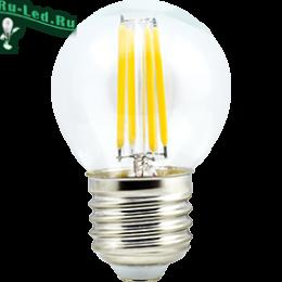 Лампа led filament обеспечивает многократную экономию электроэнергии Ecola globe LED Premium 6,0W G45 220V E27 4000K 360° filament прозр. нитевидный шар (Ra 80, 100 Lm/W, КП=0) 68х45