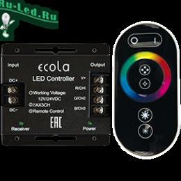 Ecola LED strip RGB RF controller 24A 288W 12V (576W 24V) с кольцевым сенсорным черным радиопультом