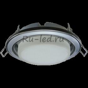 светильники потолочные встраиваемые натяжных потолков Ecola GX53 H4 светильник встраив. без рефл. 2 цв. черный хром-серебро-черный хром 38х106 (к+)