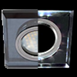 светильники потолочные mr16 gu 5.3 купить по цене интернет магазина в москве онлайн Ecola MR16 LD1651 GU5.3 Glass Стекло с подсветкой Квадрат скошенный край Черный / Черный хром 25x90x90 (кd74)