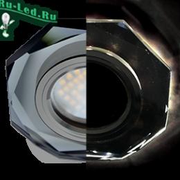 Ecola MR16 LD1652 GU5.3 Glass Стекло с подсветкой 8-угольник с прямыми гранями Черный / Черный хром 25x90 (кd74)