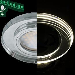 купить точечный светильник mr16 по ценам интернет магазина онлайн в москве Ecola MR16 LD1650 GU5.3 Glass Стекло с подсветкой Круг Хром / Хром 25x95 (кd74)