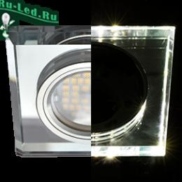 светильник встраиваемый mr16 ecola под лампу GU5.3 купить по цене интернета в москве Ecola MR16 LD1651 GU5.3 Glass Стекло с подсветкой Квадрат скошенный край Хром / Хром 25x90x90 (кd74)