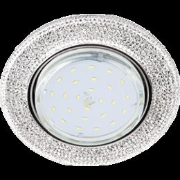 Ecola GX53 H4 LD5319 Glass Круг с  прозр.  мозаикой c подсветкой/фон зерк./центр.часть хром 40x123 (к+)