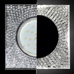 Ecola GX53 H4 LD5320 Glass Квадрат с  прозр.  мозаикой c подсветкой/фон зерк./центр.часть хром 40x123x123 (к+)