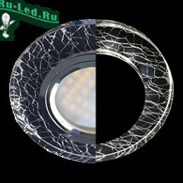 встраиваемые точечные светодиодные светильники led MR16 купить недорого онлайн Ecola MR16 LD1650 GU5.3 Glass Стекло с подсветкой Круг Колотый лед на черном / Хром 25x95 (кd74)