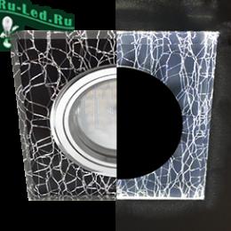 светильник потолочный встраиваемый mr16 led купить по доступной цене онлайн портал Ecola MR16 LD1651 GU5.3 Glass Стекло с подсветкой Квадрат скошенный край Колотый лед на черном / Хром 25x90x90 (кd74)