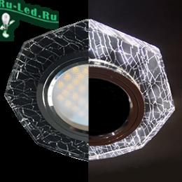 Ecola MR16 LD1652 GU5.3 Glass Стекло с подсветкой 8-угольник с прямыми гранями Колотый лед на черном / Хром 25x90 (кd74)