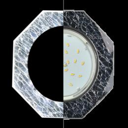 Ecola GX53 H4 LD5312 Glass Стекло 8-угольник с прямыми гранями с подсветкой  хром - колотый лед на черном 38x133 (к+)